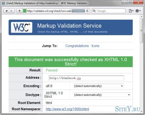 Валидация кода HTML документа.