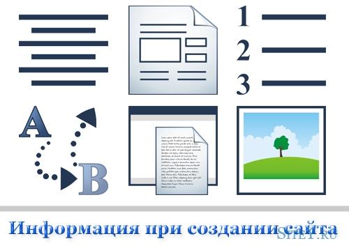 Подготовка информации для заказа сайта.